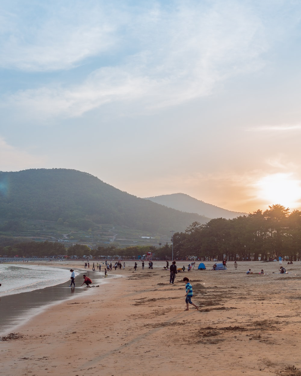 people on beach during sunset