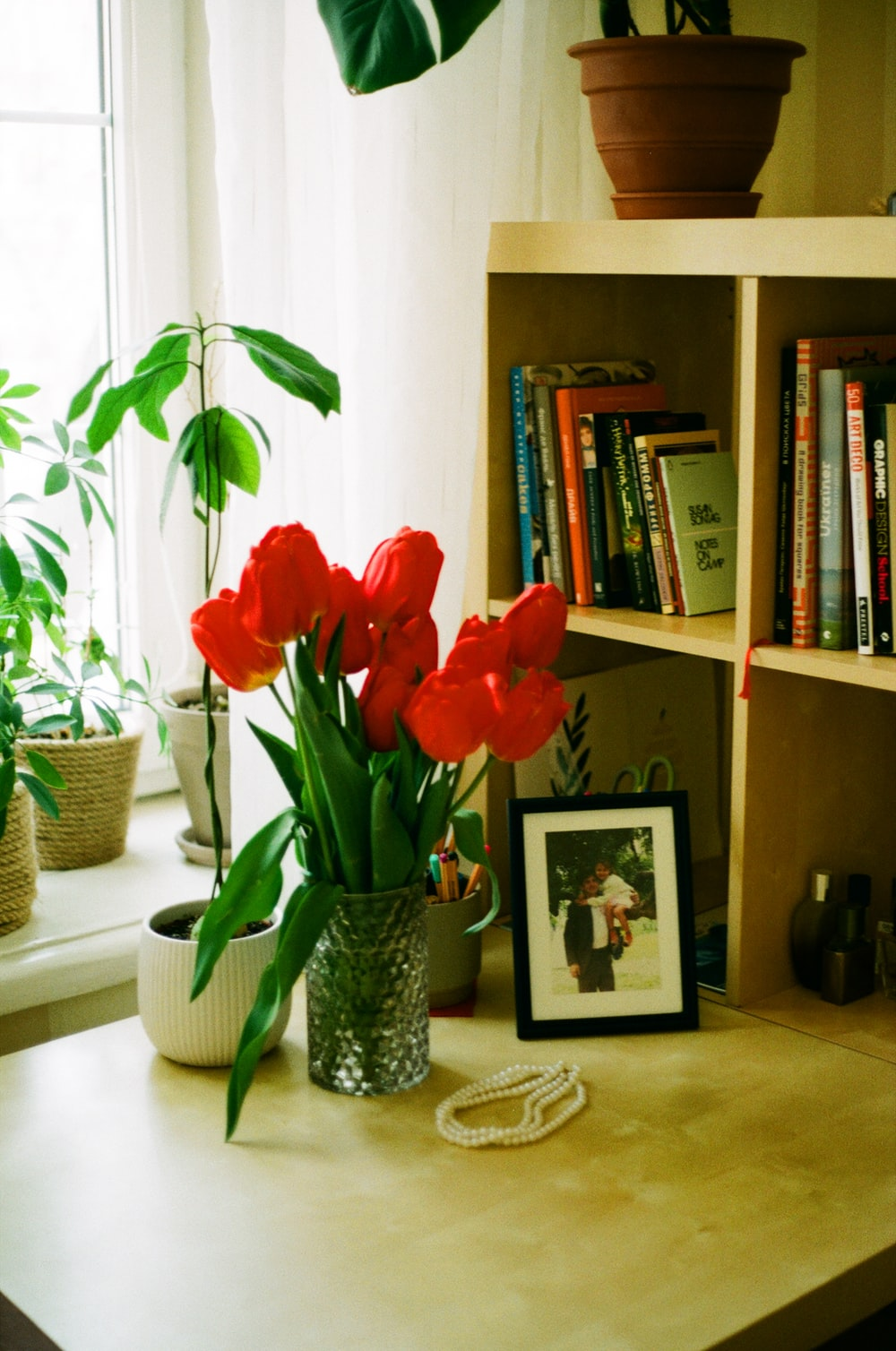 red tulips in vase beside picture frame