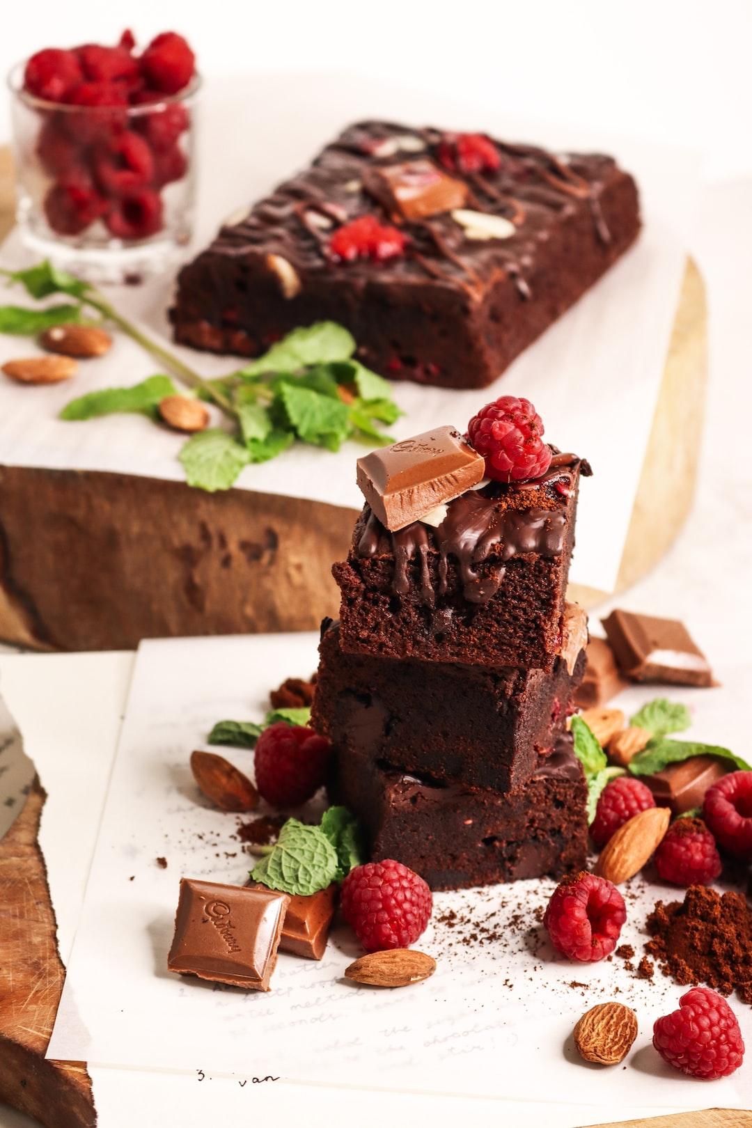 Raspberry chocolate almond brownies