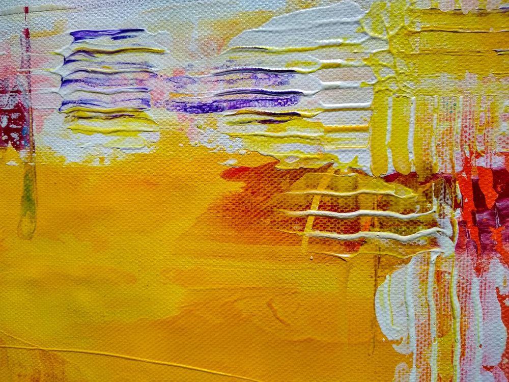 yellow white and blue abstract painting