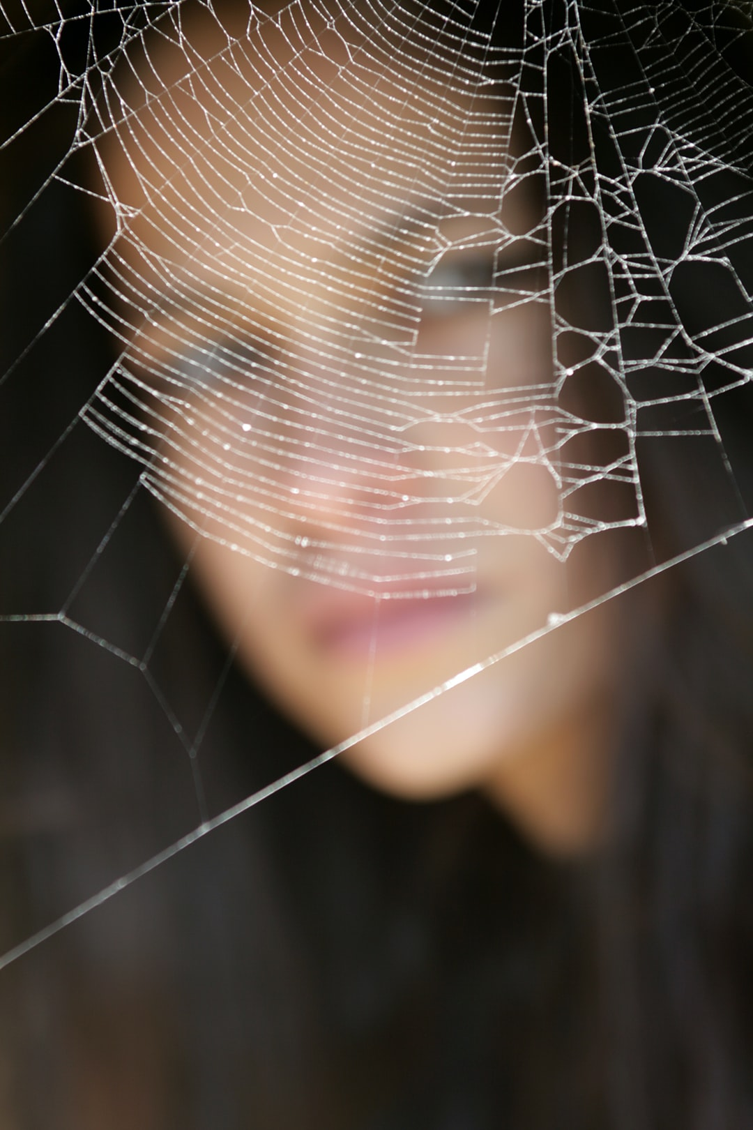 spider web and woman