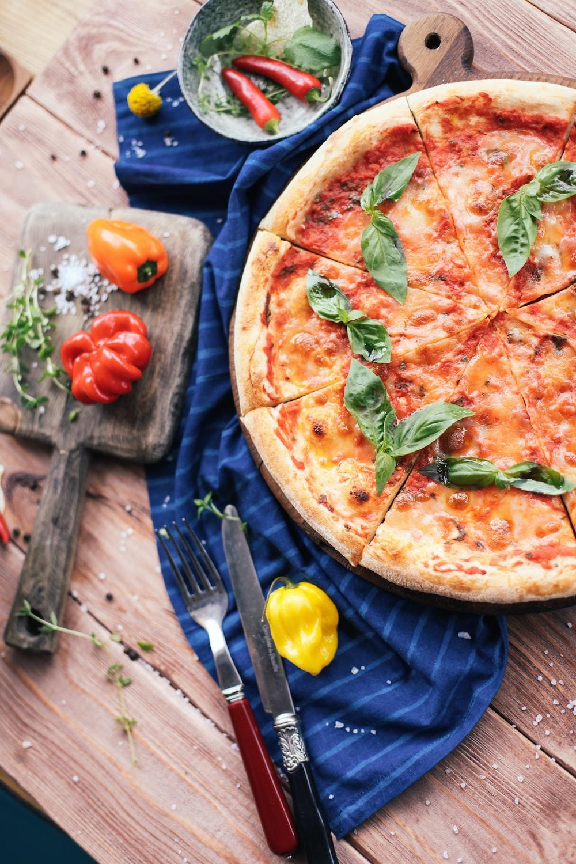 pizza on blue ceramic plate