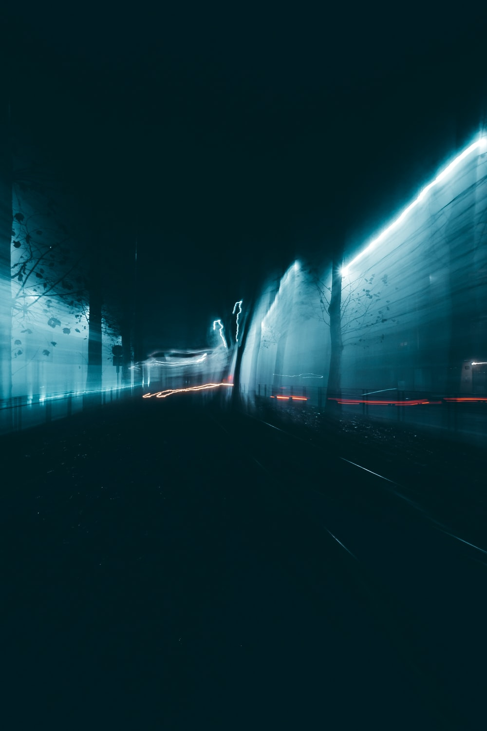 blue light in tunnel during daytime