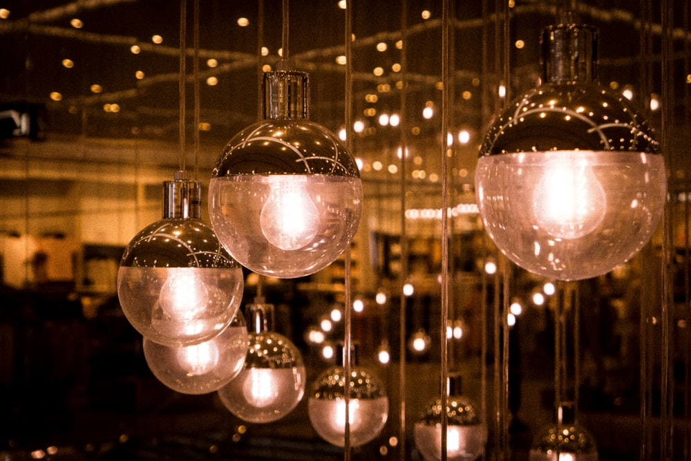 clear glass ball with light