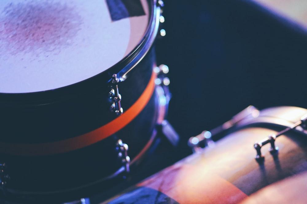 black and white drum set