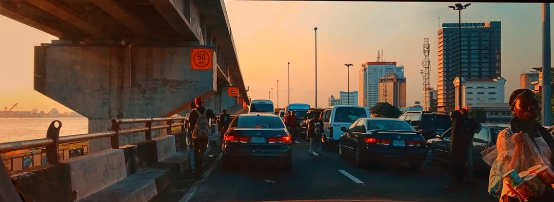 The golden hour on an evening on the bridge leading to Marina Lagos.