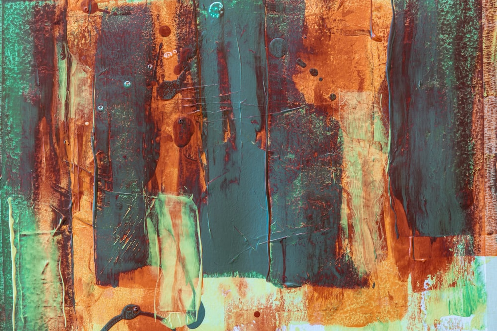 blue red and brown abstract painting
