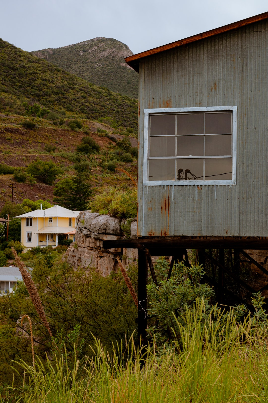 Rusty Tin Texture with Mountains in Background | Bisbee AZ