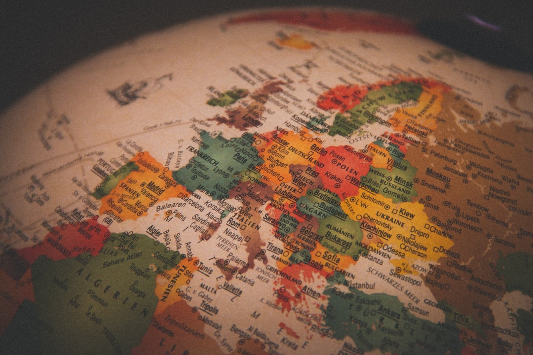 Vintage globe with Europe in focus