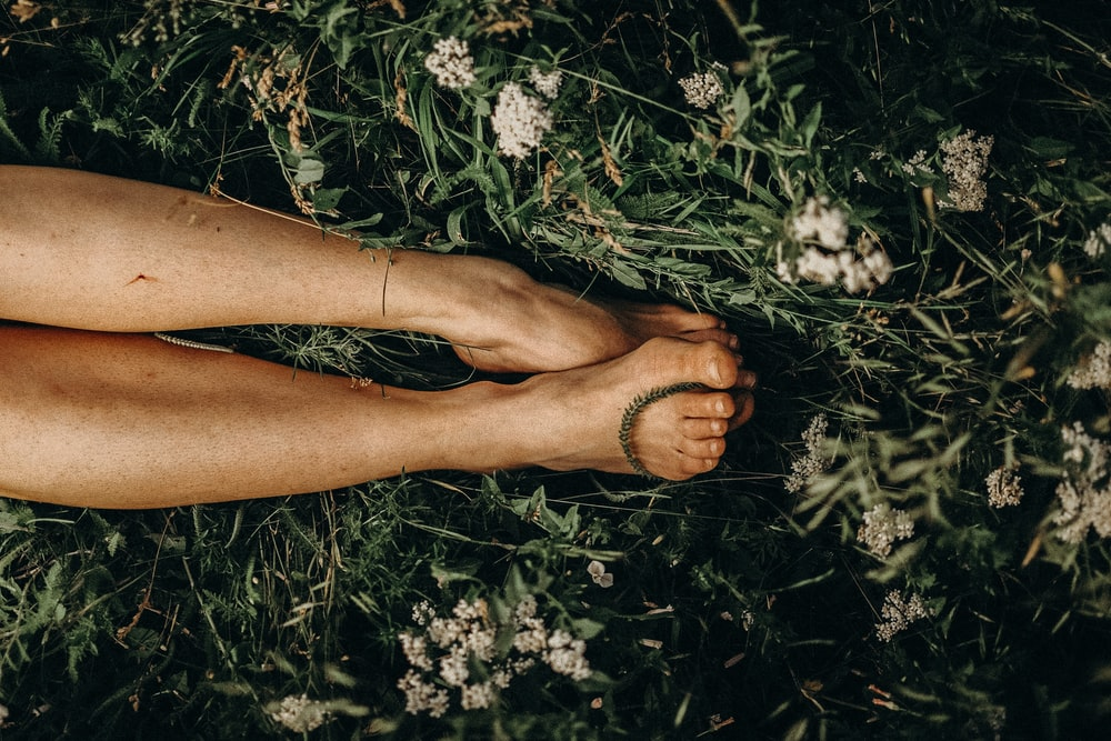 persons feet on white flowers