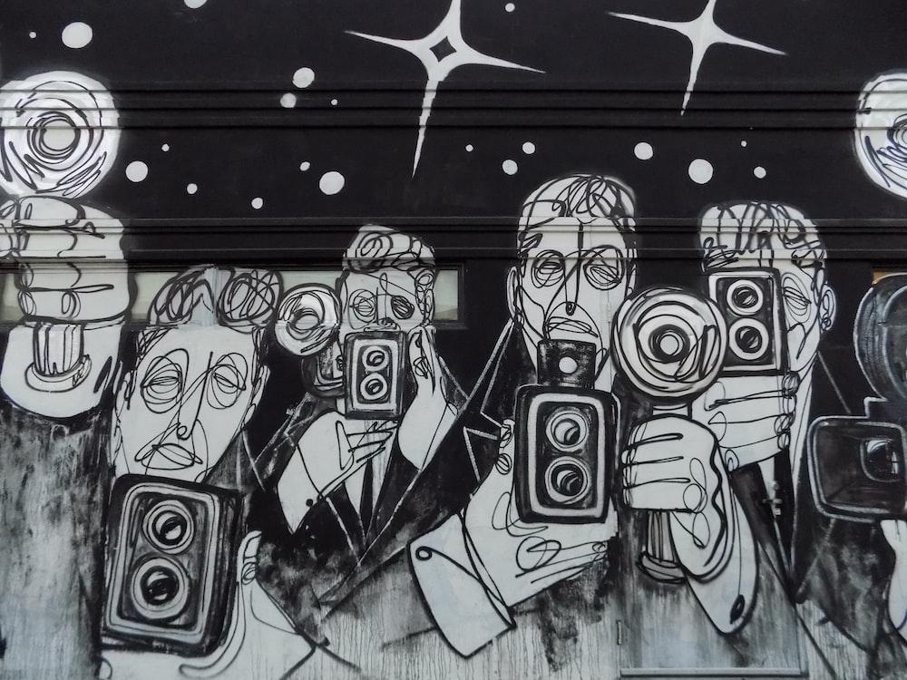 black and white graffiti on wall