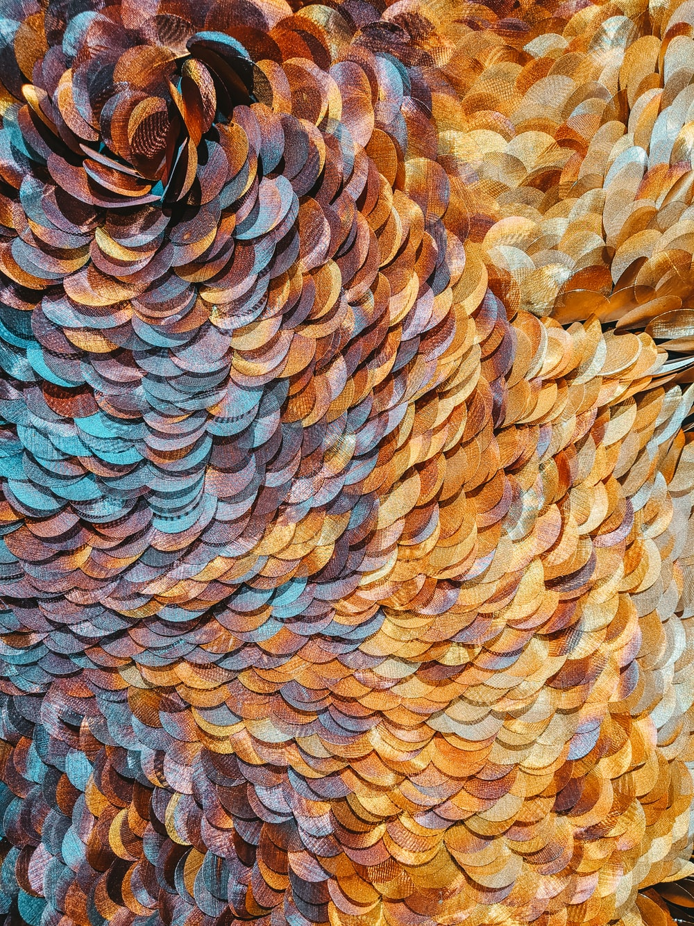 brown and blue abstract painting