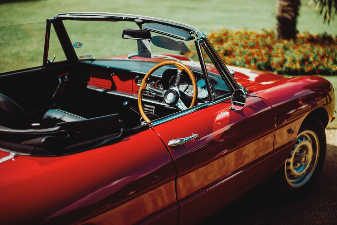 Alfa Romeo Duetto Spider in red on a hot summers day in Britain