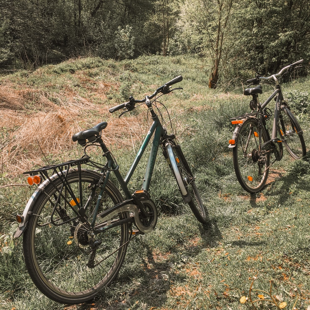 black and gray mountain bike on brown grass field