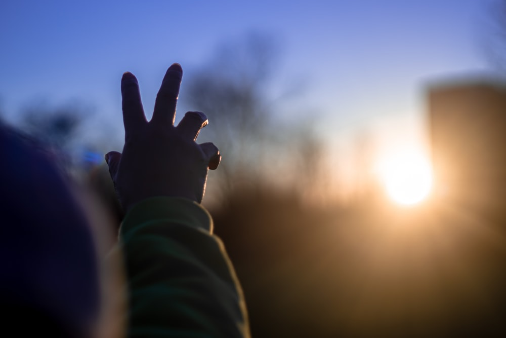 person in green long sleeve shirt raising right hand during sunset
