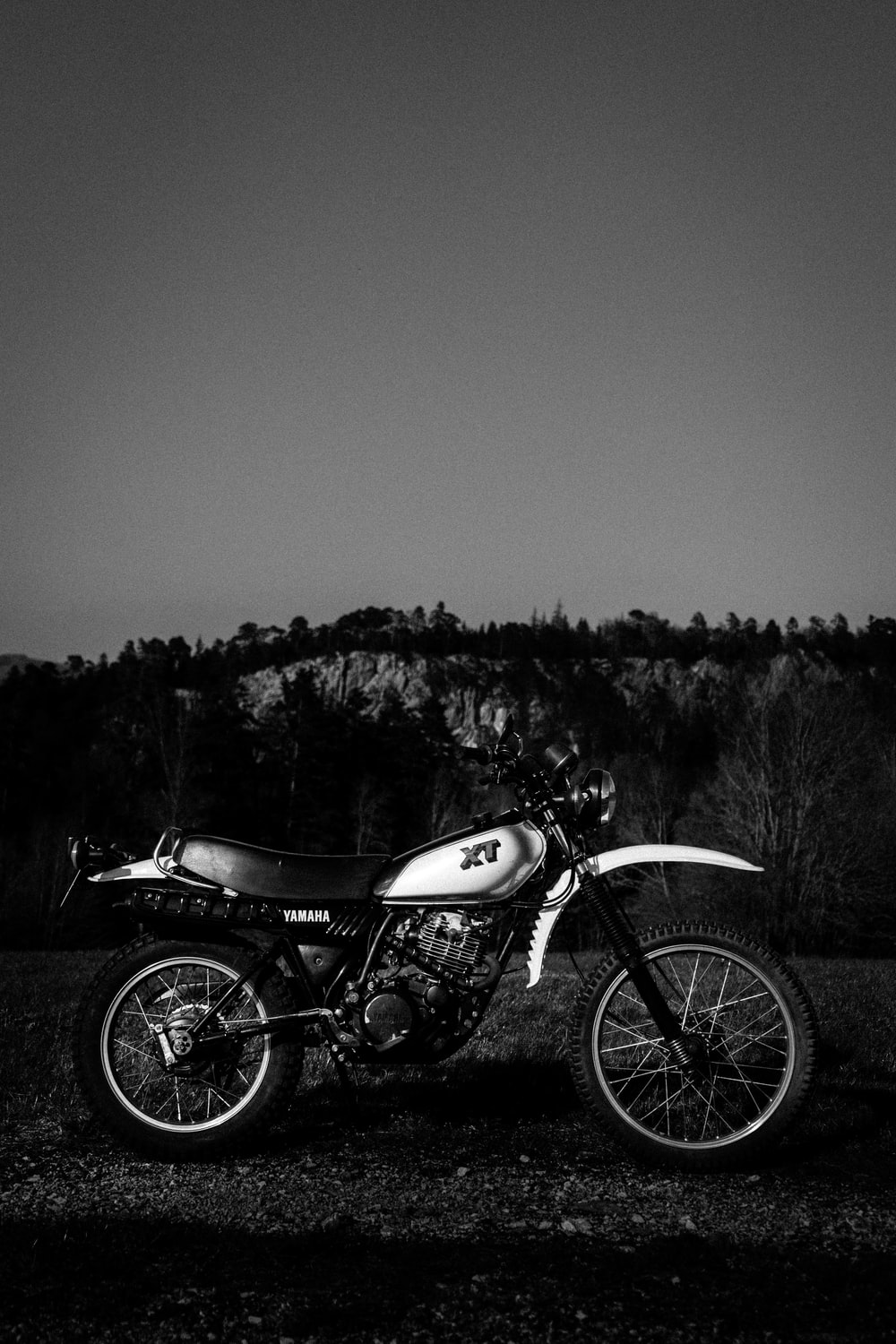 grayscale photo of motorcycle near trees