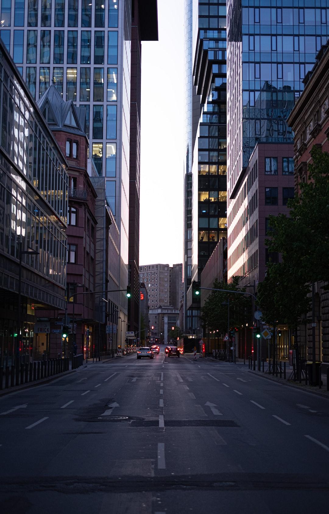 Street between tall buildings in Frankfurt, Germany