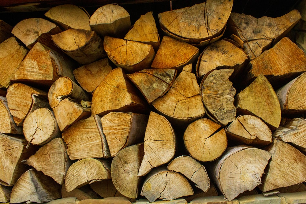 brown and black firewood stack