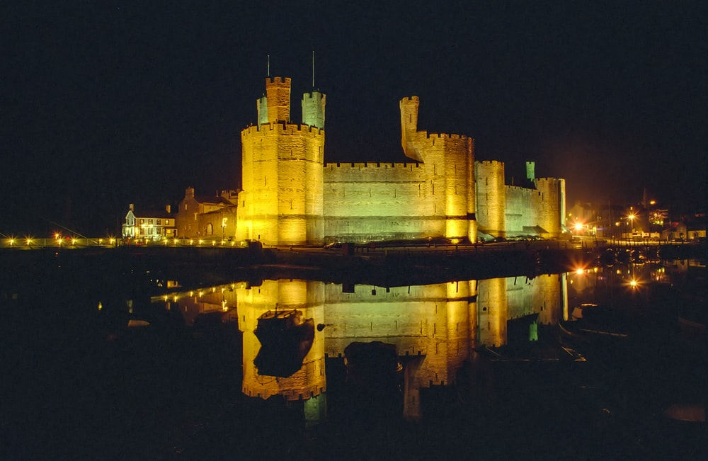 brown concrete castle on water during night time
