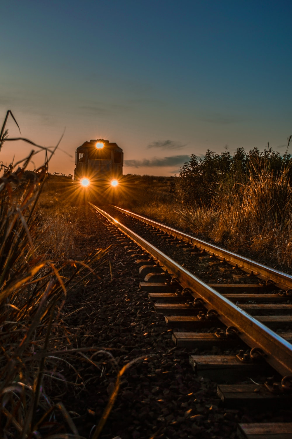 train on rail during sunset