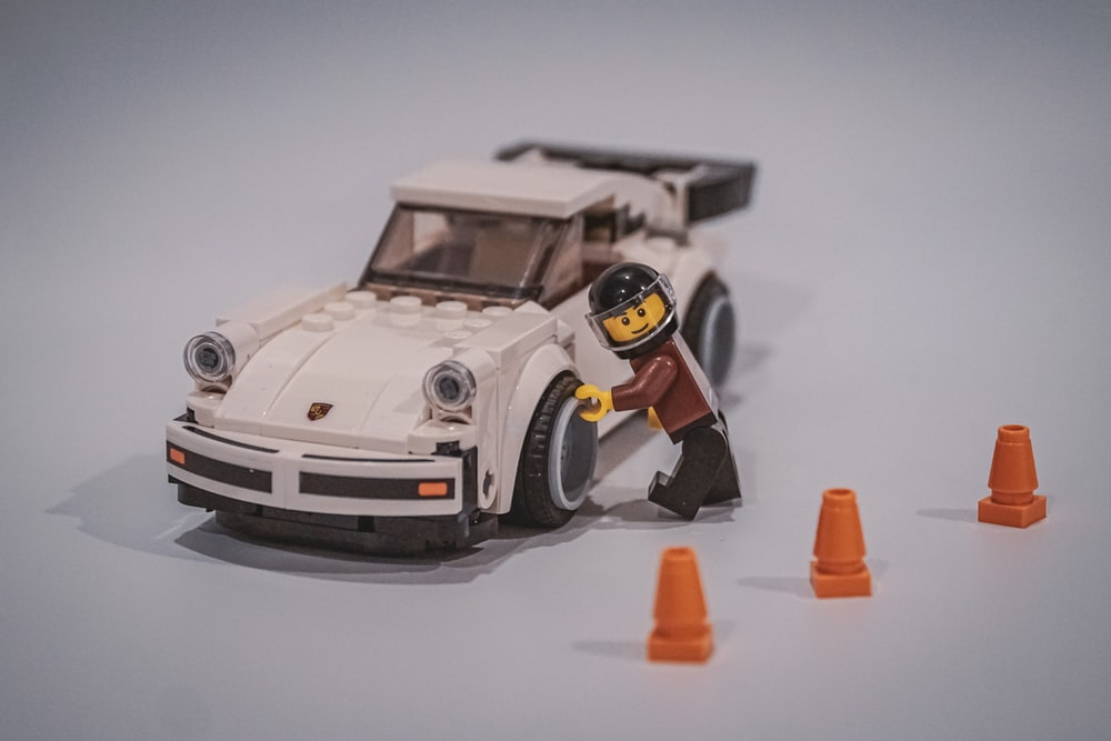 white and black car toy