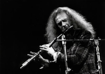 man in plaid shirt playing flute flute teams background