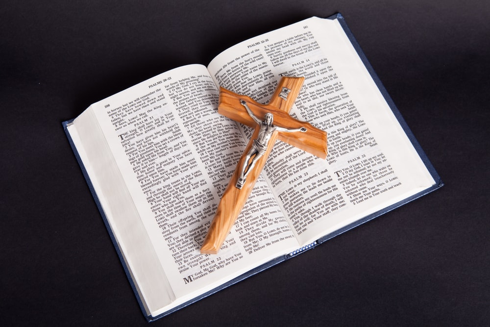 brown wooden cross on white book page