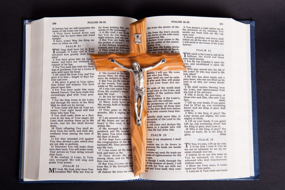 brown wooden cross on book page