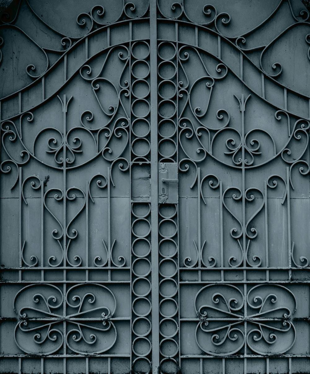 black metal door with door lever