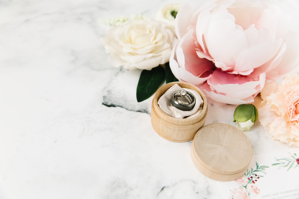 pink rose on brown wooden round pot