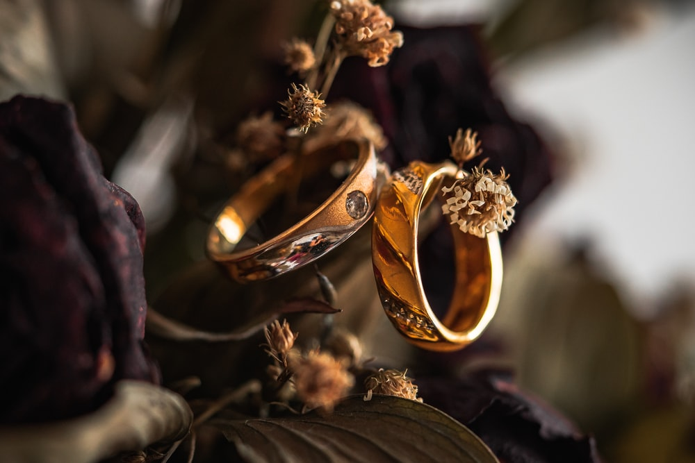gold wedding band on brown leaves