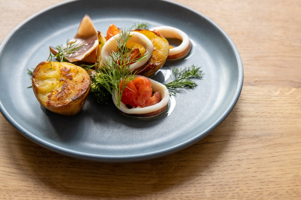 cooked food on white ceramic plate