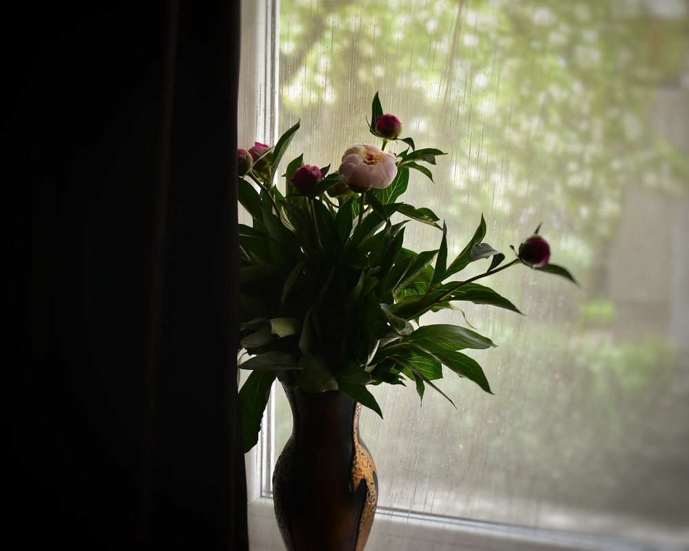 red flowers on brown ceramic vase