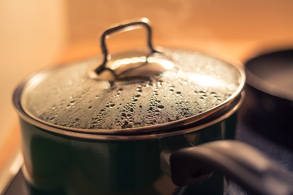 stainless steel cooking pot with water