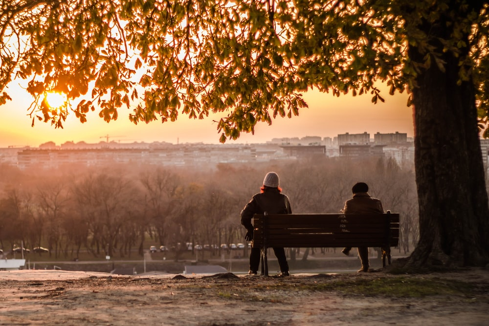 man and woman sitting on bench during sunset