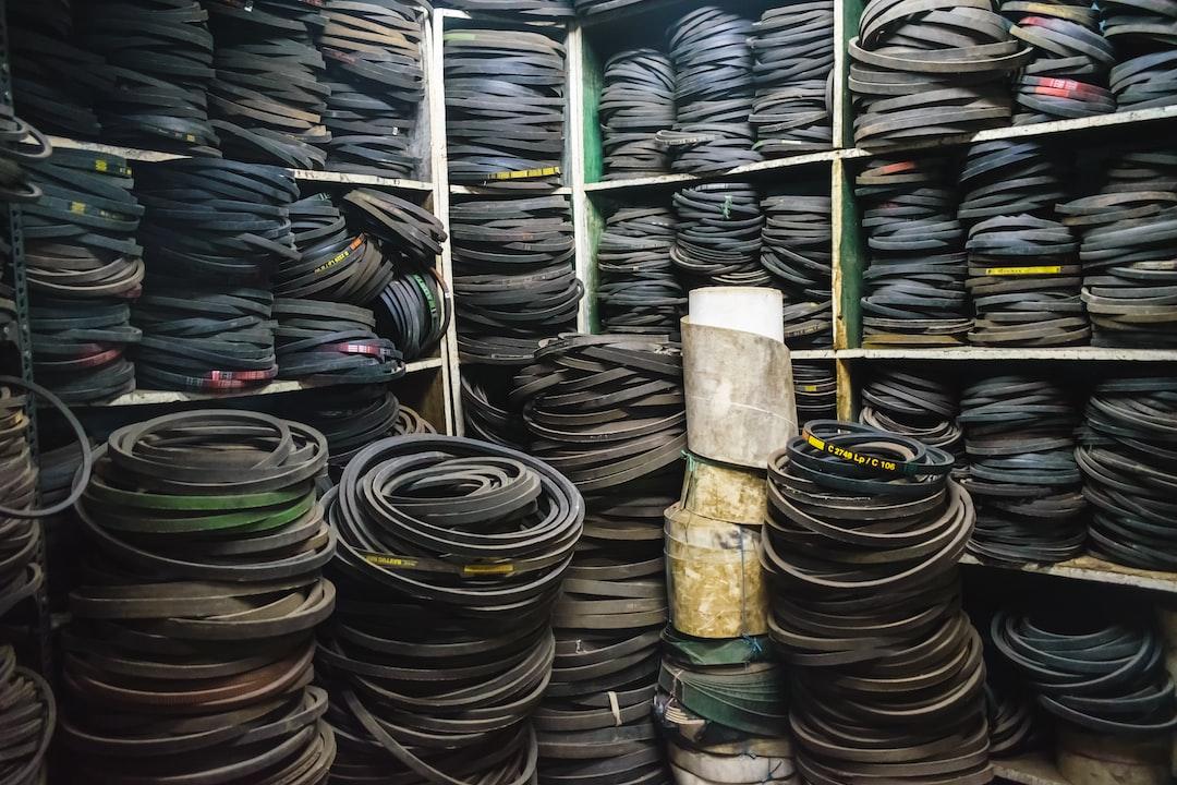 Rubber belts in a warehouse