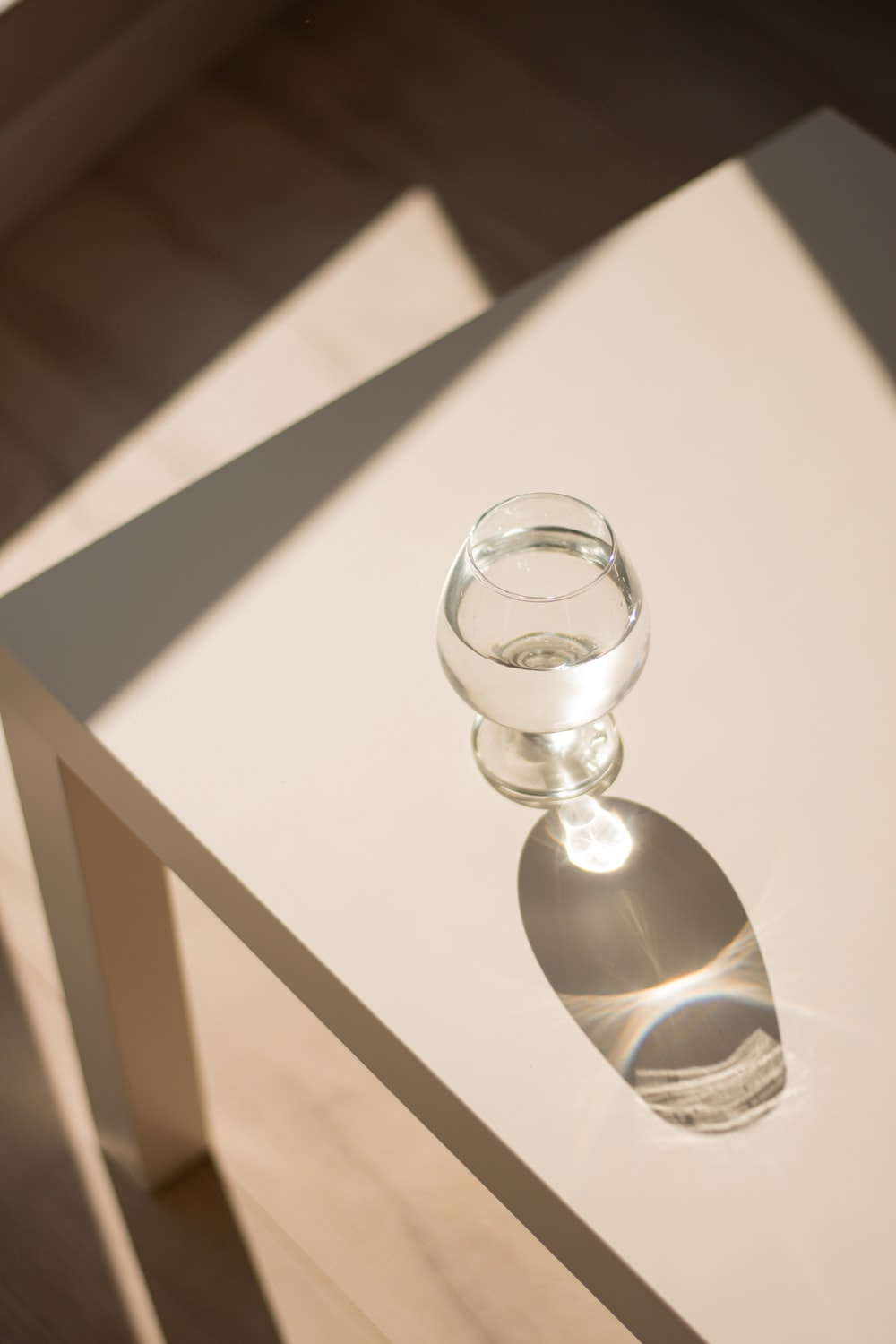 clear glass ball on white wooden table
