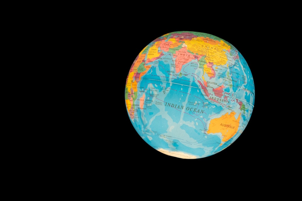 blue and brown globe illustration