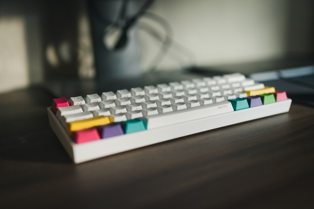 white red and blue computer keyboard