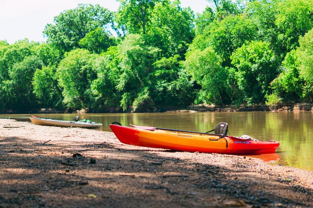 red kayak on brown sand near green trees during daytime