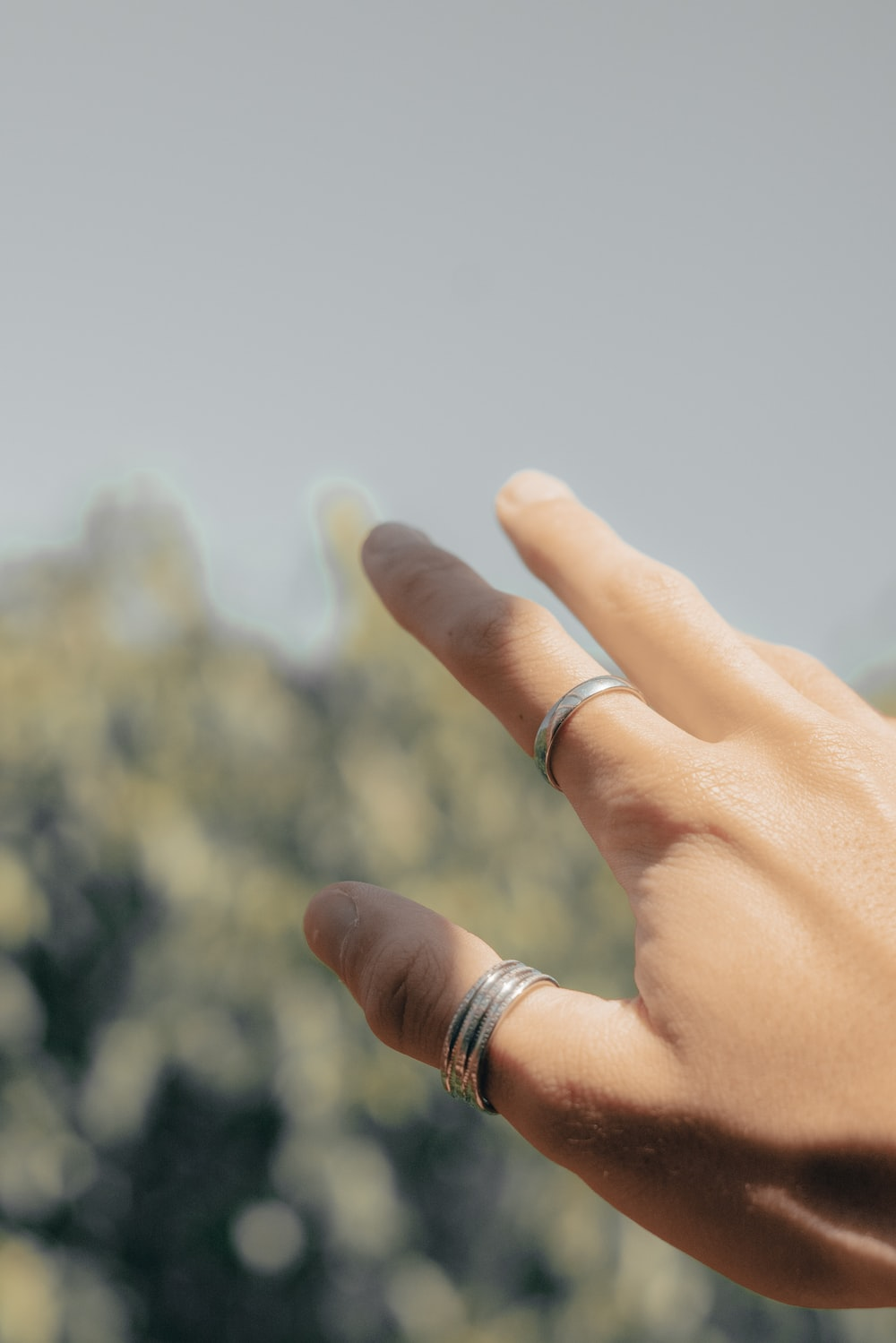 person wearing silver ring and gold ring