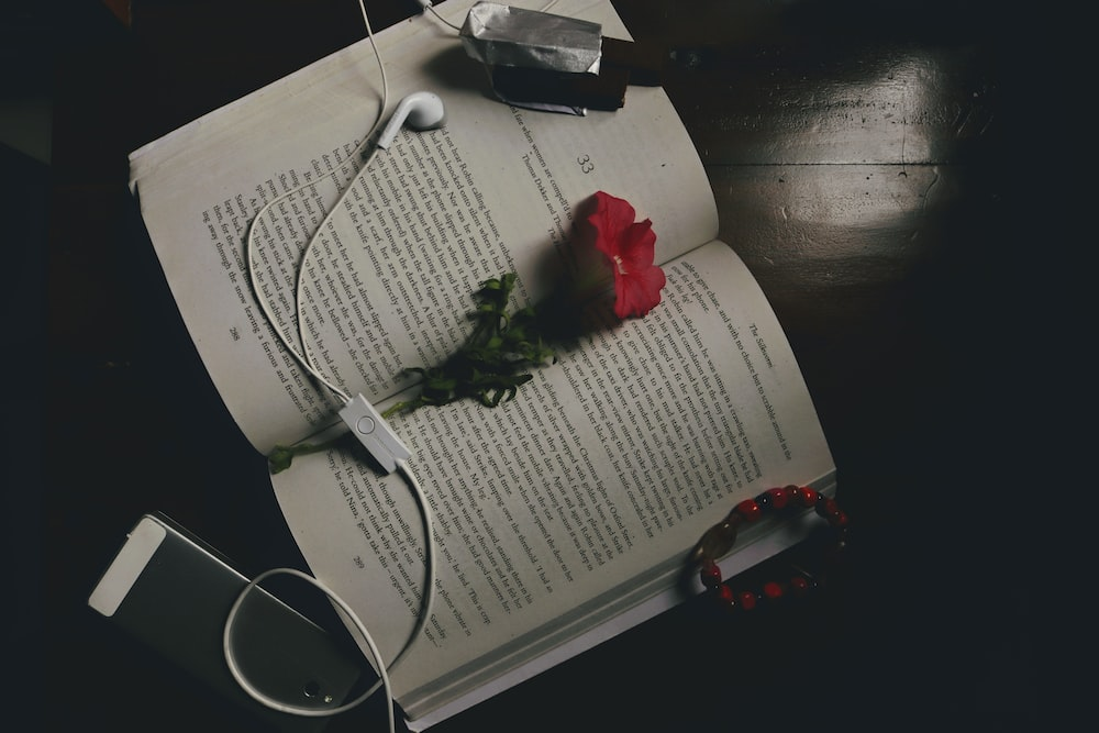red rose on white ruled paper