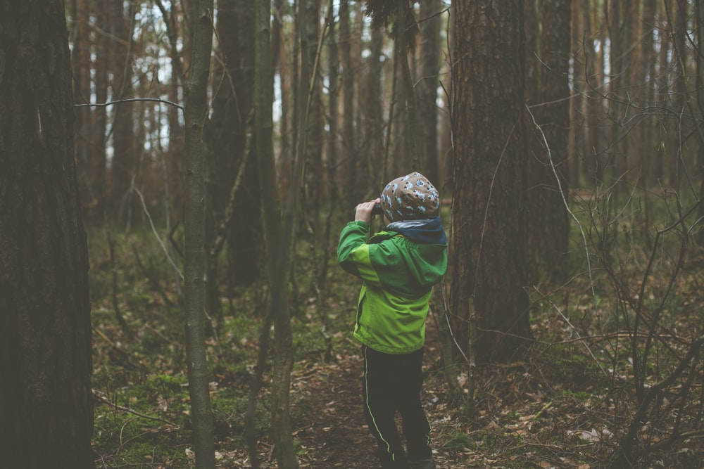 person in green hoodie standing in the woods