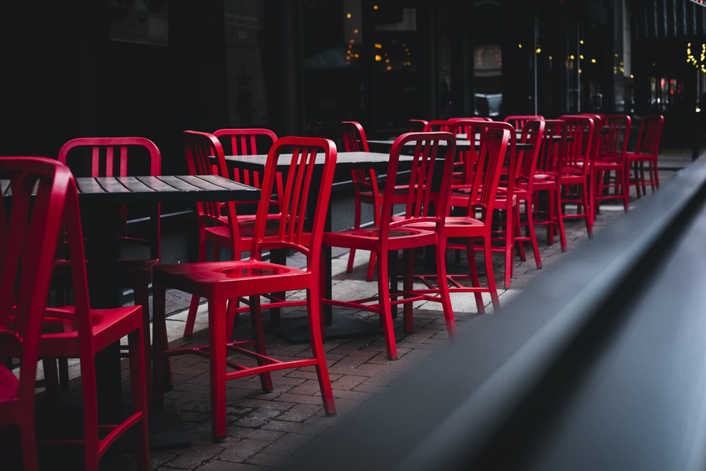red chairs on a restaurant