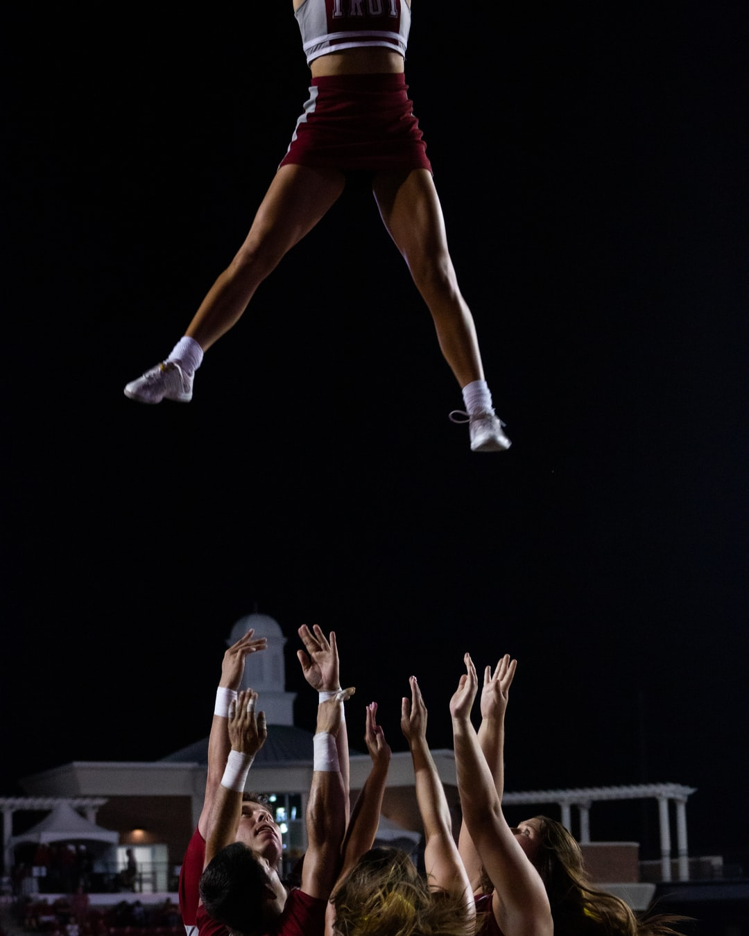 Cheerleader in the air.