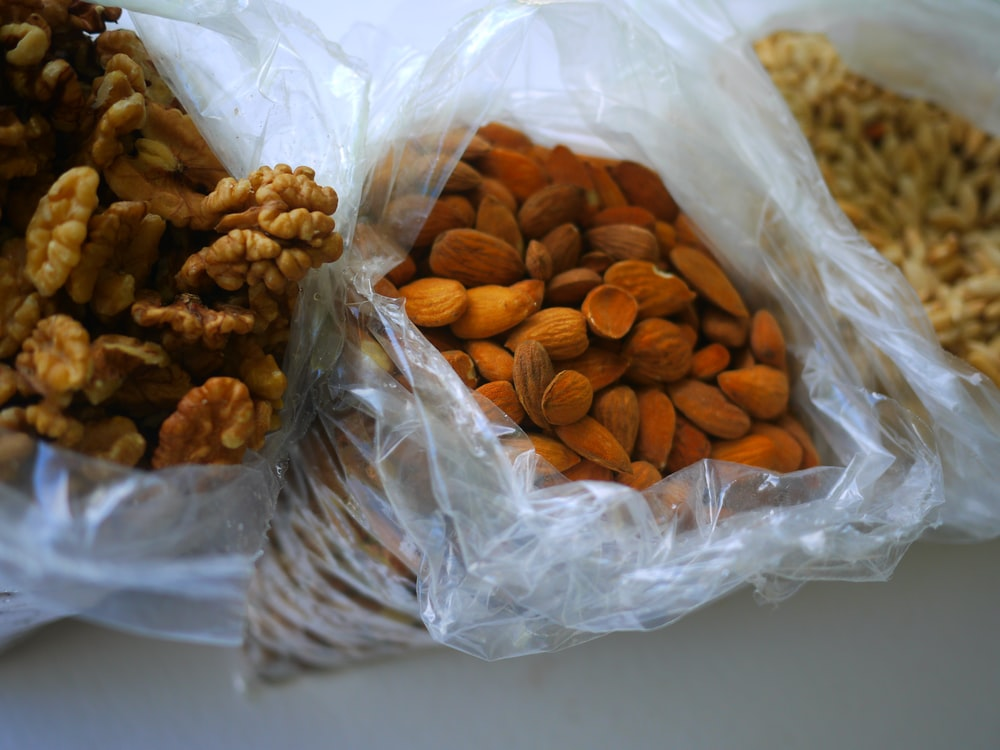 brown peanuts in clear plastic pack