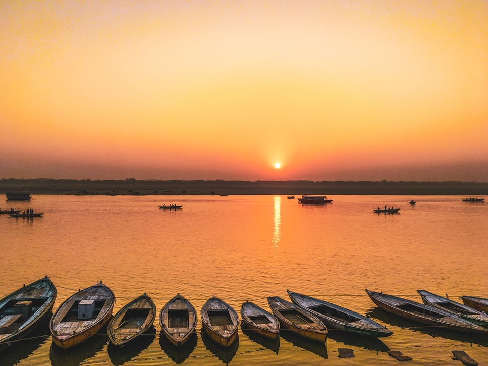 Sunset by the Ganga River: Longest Rivers in India