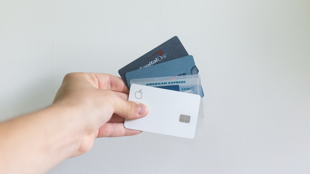 white and blue magnetic card