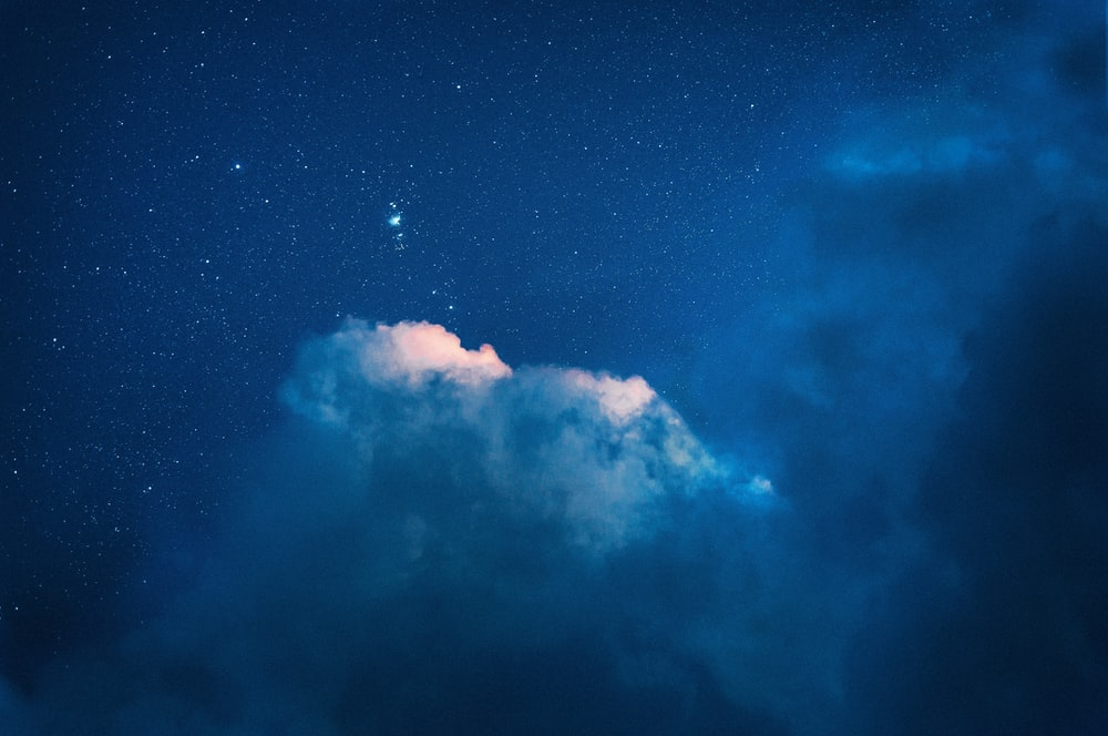 blue and white starry night sky