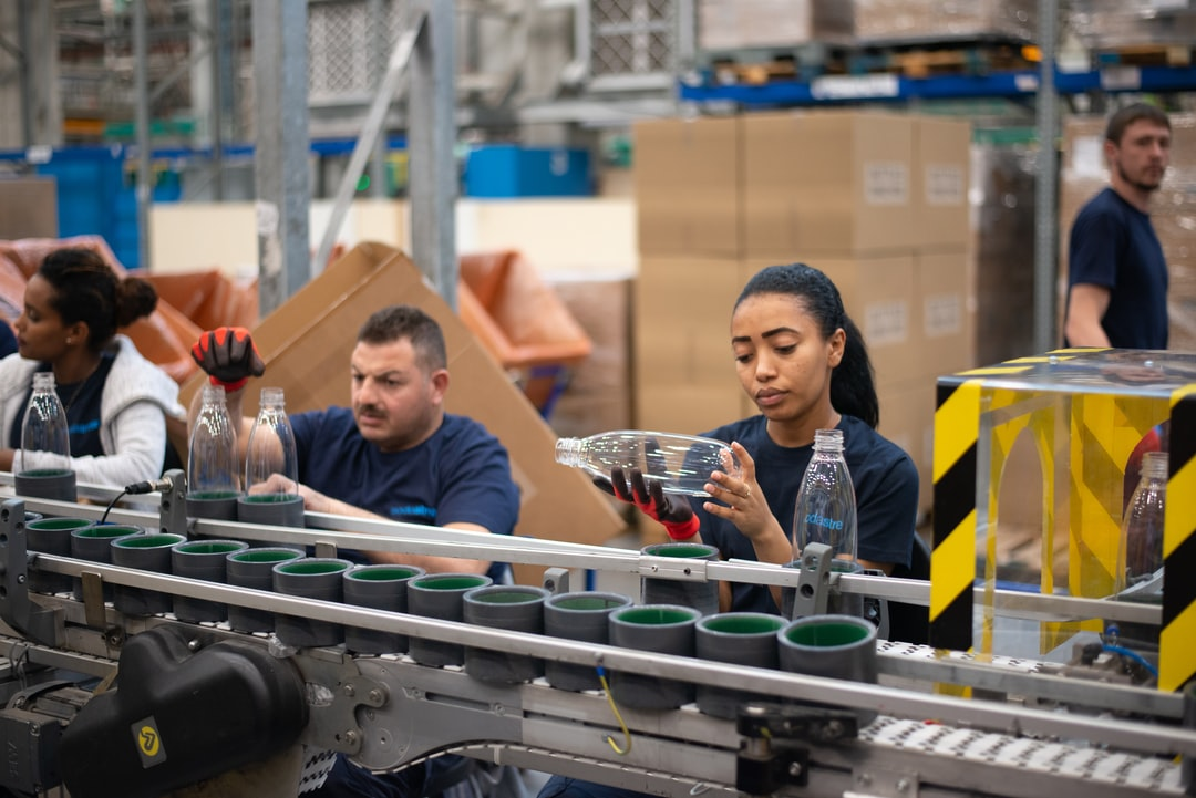 People working at the production line at the SodaStream factory in Israel. Shot during press trip to SodaStream factory in 2019.